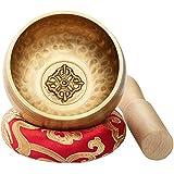 CAHAYA Juego de Cuencos Tibetanos 8cm 7 Metales con Cojín Cosido y Mazo Hecho a Mano para Meditación Yoga Relax Regalo Exquisito