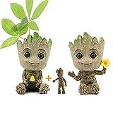 Huike Macetero Baby Groot con llavero, innovadora figura de accin para plantas y soporte para bolgrafo, macetero, decoracin para plantas, macetas, con agujero de drenaje para decoracin (2 estilos)