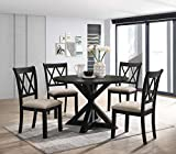 Roundhill Furniture Windvale Cross-Buck Wood 5-Piece Dining Set, Black