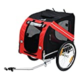 Aosom Elite Pet Dog Bike Trailer With Type 'A' Hitch, Leash Hook, Satety Flag - Red / Black