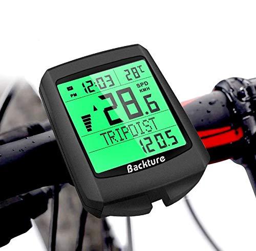BACKTURE Computer da Bicicletta, 5 Lingue Contachilometri Bici, Tachimetro per Bicicletta Senza Fili Impermeabile LCD Retroilluminato Tachimetro in Bicicletta per Distanza di Tracciamento velocit