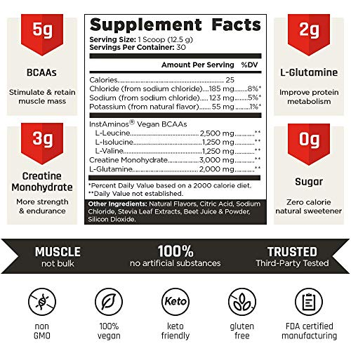 VINTAGE BUILD Post Workout BCAA, Creatine, L-Glutamine - The Essential 3-in-1 Muscle Building Recovery Powder for Men and Women (Fresh Berries) - Keto Friendly - 377 Grams - 30 Servings 2