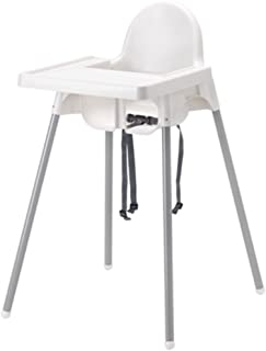Ikea's ANTILOP Highchair with safety belt, white, silver color and ANTILOP Highchair..
