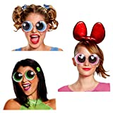 Cartoon Network Powerpuff Girls Animated Glasses (3 Pack, 1 of Each) Blossom, Bubbles, Buttercup, Fits Teens and Adults