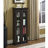 Walker Edison Furniture Company 4 Tier Shelf Living Room Storage Tall Bookshelf Cabinet Doors Home Office Tower Media Organizer, 41 Inch, Espresso Brown