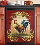 tksherlock Country Farm Rooster Sunflower Floral Dishwasher Magnet Cover Kitchen Decor