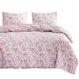 Wake In Cloud - Bohemian Comforter Set, Boho Chic Paisley Indian Mandala Printed in Pink Purple Lilac, Soft Microfiber Bedding (3pcs, Queen Size)