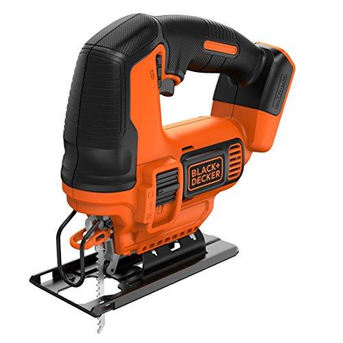 BLACK+DECKER BDCJS18N-XJ Scie sauteuse sans fil - 55 mm dans le bois - 8 mm dans l'acier - 1 lame bois 18W, 18V, Noir, Orange, Sans batterie