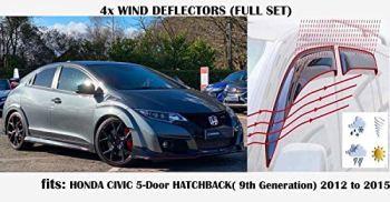 Set Of 4 STICK ON Wind Deflectors Compatible with HONDA CIVIC 5 door HATCHBACK 9th Generation 2012 2013 2014 2015 Acrylic Glass Side Visors Window deflectors