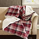 Woolrich Tasha Luxury Oversized Sofstpun Down Alternative  Throw Red 50x70   Plaid Premium Soft Cozy Cozy Spun For Bed, Couch or Sofa