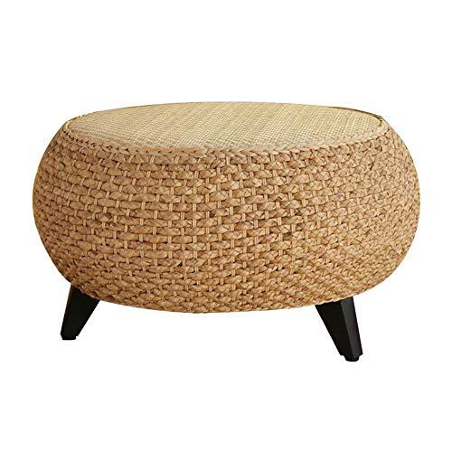 Jcnfa-Tavoli Tavolino Rotondo in Legno Massello di Rattan Straw Tavolo Basso Moderno Tavolino del...