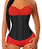 YIANNA Women's Underbust Latex Sport Girdle Waist Trainer Corsets Cincher Hourglass Body Shaper Weight Loss (Black, 2XL)