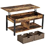 Rolanstar Lift Top Coffee Table with Storage and Rattan Baskets, Rustic Wood Raisable Top Central Table for Living Room, Hidden Compartment Shelf Tabletop and Metal Frame, Rustic Brown