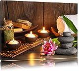 Bougies avec des pierres zen et nénuphar Format: toile 60x40auf, XXL énormes Photos...