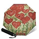 WALL-8-CC Paraguas de lluvia con diseño de corazón rojo de corazones y flores