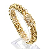 Jxlepe Mens Miami Cuban Link Chain 18K Gold 15mm Stainless Steel Curb Necklace with cz Diamond Chain Choker (9, Bracelet)