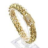 Jxlepe Mens Miami Cuban Link Chain 18K Gold 15mm Stainless Steel Curb Bracelet with cz Diamond Chain Choker (8.5, Bracelet)