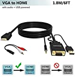FOINNEX VGA to HDMI Adapter/Converter Cable with Audio,1080P,Convert VGA Source (PC) in HDMI Connector of Monitor,TV. Active Male VGA-HDMI Out Lead Video Adattatore Cord for Computer,Laptop,Projector
