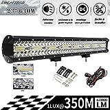 RUILITECH 23' 640W 12v 24v 3-Rangées Barre Lumineuse LED Faisceau Combo...