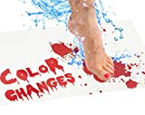 Bloody Bath Mat  Color Changing Sheet Turns Red When Wet  Make Your Own Bleeding Footprints That Disappear White  Sheet, for Shower/Bathroom  Novelty Gag Gift