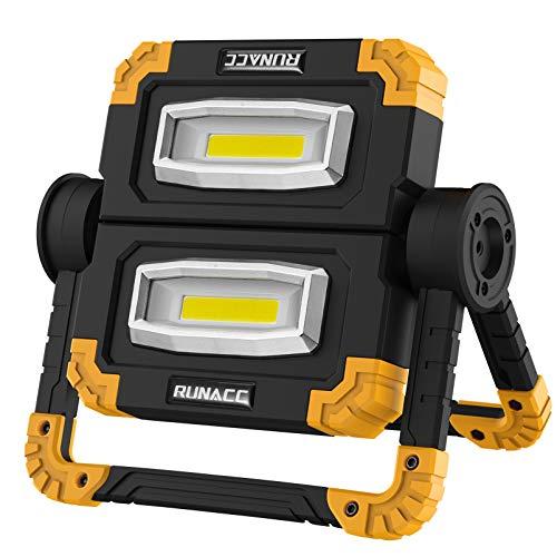 RUNACC LED Lampada da Lavoro USB Ricaricabile Lampada Emergenza Faro LED Portatile Emergenza Faretto Pieghevole Faro da lavoro Lampada Esterni con Rotazione a 360