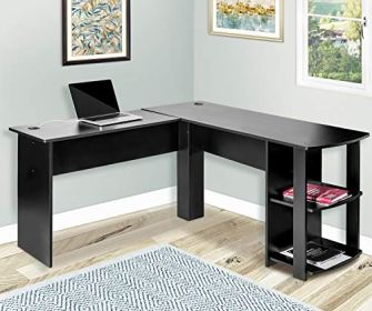 Merax L-Shapped Desk Office/Storage Shelf /PC Table Workstation Writing Table/Maximize office space(Black)