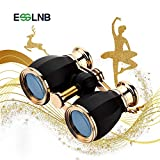 ESSLNB Opera Glasses Binoculars for Women Adults 4X30mm Theater Glasses Compact Binoculars for Theater and Concerts Antique Binoculars with Case Removable Chain Black