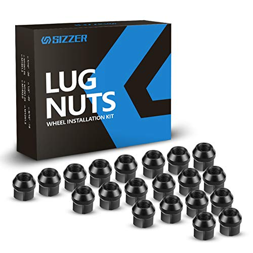 "SIZZER Wheel Lug Nuts 1/2""-20 Thread Size 0.84"" Long 3/4' Hex Tapered Seat Acorn Lug Nuts Black Finish Set of 20"