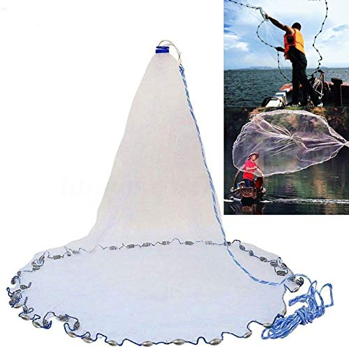 Yeahmart American Saltwater Fishing Cast Net for Bait Trap Fish 6ft Radius with Heavy Duty Real Zinc...
