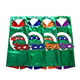 STARKMA 4 PCs Cartoon Turtle Hero Role Play Costume Two Side Satin Cape and Felt Mask Party Favors for Kids