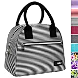 OPUX Lunch Bag for Women | Insulated Lunch Tote for Ladies, Girls, Female | Medium Reusable Soft Lunch Box Purse Cooler for School, Work, Office | Fits 12 Cans (Black White Stripes)