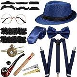 SATINIOR 1920s Men Costume Accessories Set Roaring Retro Gangster Costume, Hat, Bow Tie, Pocket Watch, Suspender, Glasses, Beard, Armband Garters, Tie Clips, Pocket Watch (Dark Blue)