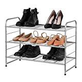 Bextsrack 3-Tier Shoe Rack, Stackable & Adjustable Wire Grid Shoe Shelf Storage Organizer for Closet Bedroom Entryway - Silver