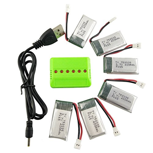 Fytoo 6PCS 3.7V 400mAh LiPO Batteria e 6in1 Caricabatterie per H99W JJRC H31 H6C H98 AT-96 Drone...