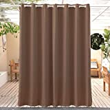 Anjee Outdoor Blackout Curtain 95 inches Length - Waterproof and Light Blocking Drapes, Thermal Insulated Grommet Top Outdoor Curtain for Porch (1 Panel, 100 Inch Wide, Brown)