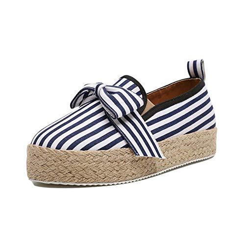 Minetom Mujer Zapatillas Moda Alpargatas Plataforma Arco Cuña Tacón Plano Loafers Antideslizante Cómodo Lindos Zapatos Raya 40 EU
