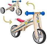 BIKESTAR Vélo Draisienne Enfants et Tricycle en Bois pour Garcons et Filles de 18 Mois  Vélo sans pédales Mini (Combinaison 2 et 3 Roues) évolutive 7 Pouces  Bleu