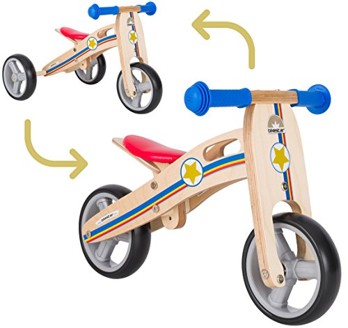 BIKESTAR Bicicletta Senza Pedali e Triciclo (2 in 1) in Legno per Bambino et Bambina da 18 Mesi...