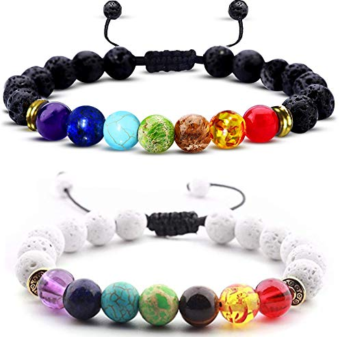 7 Chakra Healing Bracelet- Chakra Bracelets- Lava Stone...