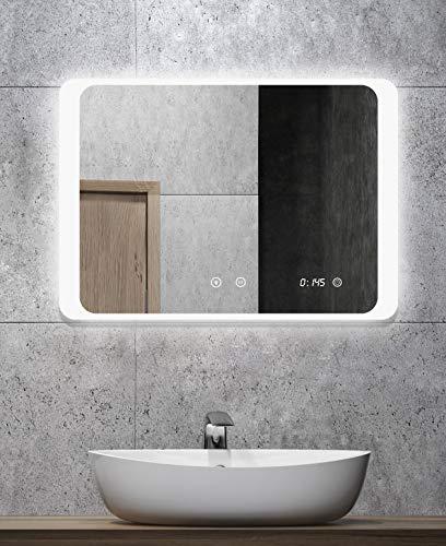 ALLDREI Badspiegel mit Beleuchtung AD025A Antibeschlag Badezimmerspiegel mit Digitale Uhr, LED Licht, Touch Schalter – Waagerecht Montage 70 x 50 cm, IP44, Weiß, Lumen 1440, Energieklasse A+