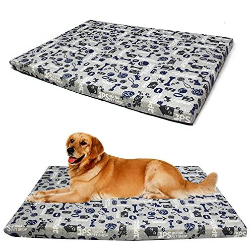BPS BPS-14146GR - Materassino per cani e gatti, spessore 8 cm, antiscivolo, fodera sostituibile, dimensioni S/M/L, portatile, materasso morbido per divano (L: 70 x 100 cm, grigio)