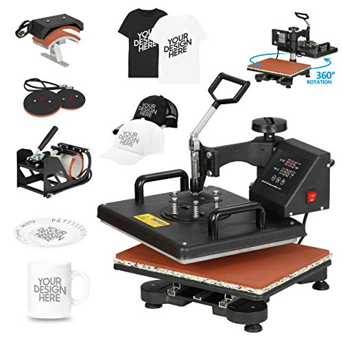 F2C 5 in 1 Professional Digital Transfer Sublimation Swing-Away 360-degree Rotation Heat Press Machine Hat/Mug/Plate/Cap/T-Shirt 12x15 Multifunction Black 110V