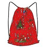 ZVEZVI Bolsa de Gimnasio de Moda para Parejas, cómo el Grinch robó la Navidad Bolsas de cordón Ajustables Mochila Mochila Ligera para Entrenamiento, Yoga, Viajes, Compras