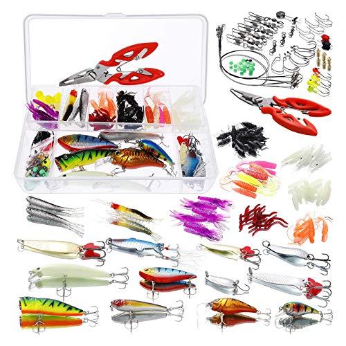 Homealexa Kit Esche da Pesca 123 Pezzi Attrezzatura Mista da Pesca Esche Artificiali Spinning Accessori da Pesca Set Lure Articoli da Pesca con Scatola Adatto per Pescatore Appassionati di Pesca