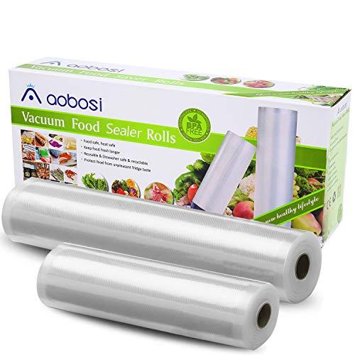 Aobosi Sottovuoto Sacchetti Rotoli Sottovuoto da 28x600cm e rotoli da 20x600cm per Sous Vide Sigillatrice per Sottovuoto e Sottovuoto Sacchetti Alimenti BPA gratuito e Approvato LFGB