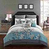 All American Collection New 7 Piece Embroidered Over-Sized Comforter Set (Queen, Turquoise/Grey)