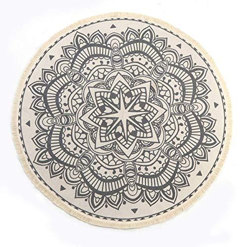 SHACOS Vintage Bohemian Tappeto Rotondo in Cotone con Nappe,Fatto a Mano,Lavabile in Lavatrice per...