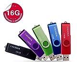 Lot de 5 Clé USB 16 Go ENUODA USB 2.0 Flash Drive Stockage Rotation Disque Mémoire Stick (Couleur Mixte:Rouge Vert Noir Bleu Violet)