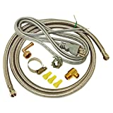 EZ-FLO 48337 Dishwasher braided stainless steel Installation Kit with 72-in connector & 6 ft. pigtail cord