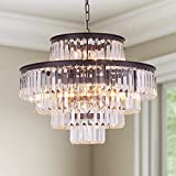 GMlixin Crystal Chandelier Lights 24 Inch Round Luxurious Chandeliers Hanging Pendant Light Fixture for Dining Rooms Bedroom Entryway 13-Lights (Oil Brown)